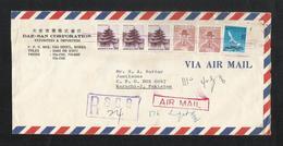 Korea Registered Air Mail Postal Used Cover Korea To Pakistan Birds Animal - Korea (...-1945)