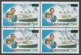 Montserrat SG O57 1982 Official $1 On $4 Block Of 4 Good/fine Used [32/166/1D] - Montserrat