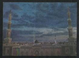 Saudi Arabia Silver Shining Picture Postcard Holy Mosque Medina Madina View Card Islamic - Saudi Arabia