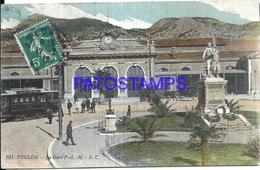 104956 FRANCE TOULON STATION TRAIN & TRAMWAY  POSTAL POSTCARD - Sin Clasificación