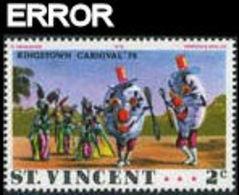 ST.VINCENT 1976 Carnival Dancing 2c ERROR:black Pr.neut.reverse - St.Vincent (1979-...)