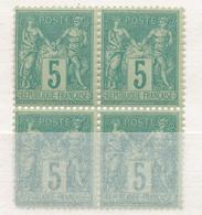 N°75 BLOC DE 4 TIMBRES NEUF ** GOMME D'ORIGINE. - 1876-1898 Sage (Type II)