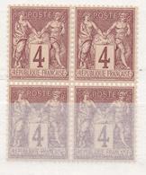N°88  BLOC DE 4 TIMBRES NEUF ** GOMME D'ORIGINE. - 1876-1898 Sage (Type II)