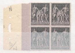 N°103   BLOC DE 4 TIMBRES NEUF ** GOMME D'ORIGINE. - 1898-1900 Sage (Type III)