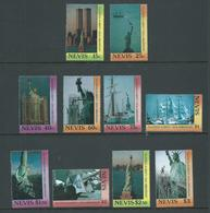 Nevis 1986 Statue Of Liberty Set Of 10 Singles MNH - St.Kitts And Nevis ( 1983-...)