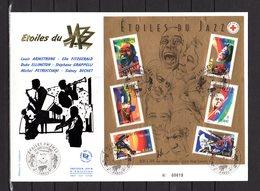 """"""" ETOILES DU JAZZ : BECHET / ARMSTRONG ... """" Sur Enveloppe 1er Jour Grand Format N°tée De 2002. N° YT BF 50 Parf. état. - Musique"""