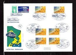 """"""" VACANCES / TGV """" Sur Enveloppe 1er Jour Grand Format De 2001. N° YT 3399. Parfait état. FDC - Trains"""