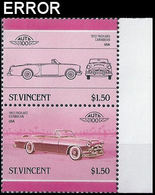 ST.VINCENT 1986 Cars Packard Caribbean $1.50 Se-tenant MARG.PAIR ERROR:no Cyan USA-related - St.Vincent (1979-...)