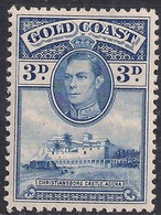 Gold Coast 1938 - 44 KGV1 3d Blue Castle Accra MM SG 124 ( J1088 ) - Côte D'Or (...-1957)
