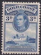Gold Coast 1938 - 44 KGV1 3d Blue Castle Accra MM SG 124 ( J1088 ) - Gold Coast (...-1957)