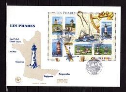 """"""" LES PHARES """" Sur Enveloppe 1er Jour Grand Format De 2007 N°YT BF 114. Parfait état. FDC - Phares"""