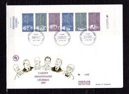 """"""" PERSONNAGES CELEBRES 1987 """" Sur Enveloppe 1er Jour Grand Format N°tée De 1987 N°YT BC2460. Parfait état. FDC - Sonstige"""