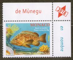 2017-2018 Monaco Fish Fauna.Fishes. Dusky Grouper 1v-corner  MNH ** - Monaco