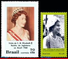 Ref. BR-1105-18-11 BRAZIL 2018 FAMOUS PEOPLE, 1968 VISIT OF QUEEN, ELIZABETH II (UK) TO BRASIL, MNH 2V Sc# 1105+11/18 - Brasilien