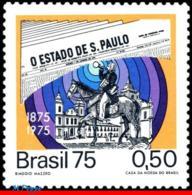 Ref. BR-1375 BRAZIL 1975 NEWSPAPERS, JOURNALISM, 'O ESTADO DE SAO PAULO',, CHURCHES,HORSE,DOG,MI#1467,MNH 1V Sc# 1375 - Brésil