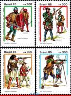 Ref. BR-2017-20 BRAZIL 1985 COSTUMES, 16TH-17TH CENTURY, MILITARY UNIFORMS, SET MNH 4V Sc# 2017-2020 - Militaria