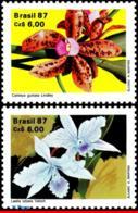 Ref. BR-2121-22 BRAZIL 1987 FLOWERS, PLANTS, NATL. ORCHID GROWERS', SOC., ORCHIDS, SET MNH 2V Sc# 2121-2122 - Brésil