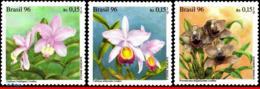 Ref. BR-2597-99 BRAZIL 1996 FLOWERS, PLANTS, WORLD ORCHID CONFERENCE,, ORCHIDS, MI# 2714-16, SET MNH 3V Sc# 2597-2599 - Brésil