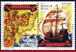 Ref. BR-2671A BRAZIL 1998 HISTORY, DISCOVERY OF BRAZIL,, SHIPS, MAPS, MI# 2816-17, SET MNH 2V Sc# 2670-2671 - Brésil