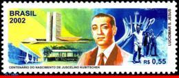 Ref. BR-2839 BRAZIL 2002 FAMOUS PEOPLE, JUSCELINO KUBITSCHEK,, PRESIDENT OF BRAZIL, MI# 3225, MNH 1V Sc# 2839 - Brésil