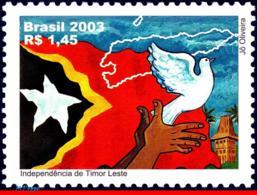 Ref. BR-2882 BRAZIL 2003 HISTORY, INDEPENDENCE OF EAST, TIMOR, FLAGS, BIRDS, MAPS, MI# 3300,MNH 1V Sc# 2882 - Pigeons & Columbiformes