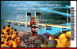 Ref. BR-2899 BRAZIL 2003 FRUITS, EXPORT PRODUCTS, BRIDGES,, ART, MI# B125, S/S MNH 1V Sc# 2899 - Brésil
