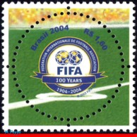 Ref. BR-2924 BRAZIL 2004 - FOOTBALL-SOCCER, FIFA CENTENARY, SPORT,, ROUND STAMP, MI# 3357, MNH,1V Sc# 2924 - Brésil