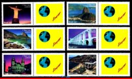 Ref. BR-3003B-1 BRAZIL 2007 CITIES, RIO DE JANEIRO, CHURCHES,, REDENTOR, SET PERSONALIZED MNH 6V Sc# 3003B - Brésil