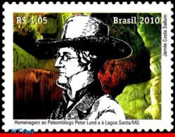 Ref. BR-3131 BRAZIL 2010 FAMOUS PEOPLE, TRIBUTE OF PETER LUND,, GEOLOGY, HOLY POND, MNH 1V Sc# 3131 - Brésil