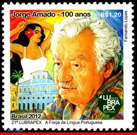 Ref. BR-3233 BRAZIL 2012 FAMOUS PEOPLE, JORGE AMADO, WRITER,, PORTUGUESE LANGUAGE, LUBRAPEX, MNH 1V Sc# 3233 - Unused Stamps