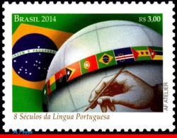 Ref. BR-3272 BRAZIL 2014 JOINT ISSUE, WITH PORTUGAL, FLAGS,, 800 YEARS PORTUGUESE LANGUAGE, MNH 1V Sc# 3272 - Brazil