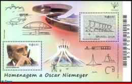 Ref. BR-3292 BRAZIL 2014 FAMOUS PEOPLE, TRIBUTE TO OSCAR NIEMEYER, , ARCHITECTURE, MONUMENTS, S/S MNH 2V Sc# 3292 - Denkmäler