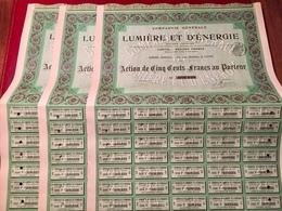 Cie  Générale  De  LUMIÈRE  Et  D' ÉNERGIE ------Lot  De  Trois  Actions  De  500 Frs - Electricity & Gas