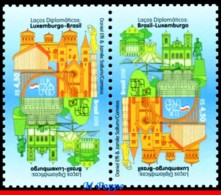 Ref. BR-V2018-12-T BRAZIL 2018 - RELATIONSHIP, DIPLOMATIC TIES WITH, LUXEMBOURG, MONUMENTS, TETE-BECHE MNH,2V - Brasil