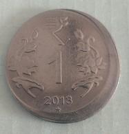 India Indein..2013... 1 Rupee Error Coin..Hyderabad Mint - India