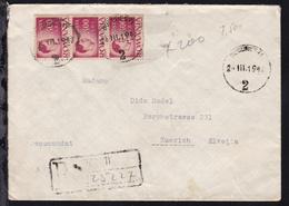 König Michael I 2400 Lei Senkr. Dreierstreifen Auf R-Brief Ab Bukarest  - Rumänien
