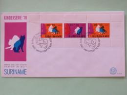 Surinam 1978 FDC Cover - Cats Souvenir Sheet - Surinam
