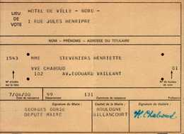 CARTE D'ELECTEUR  1973..BOULOGNE BILLANCOURT.. - Cartes