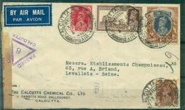 INDE Lettre CALCUTTA 13.1.1940 + Censure + Arrivée FRANCE Le 19 à Marseille Rare - Inde (...-1947)