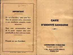 CARTE D'INDENTITE SANGUINE..PARIS XVIe..1958 - Cartes
