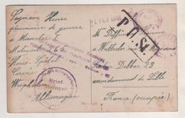 MILITARIA - PRISONNIER A MUNSTER ALLEMAGNE 1ER FEVRIER 1918 POUR WATTRELOS FRANCE OCCUPEE - MARQUES ET CACHETS A VOIR - 1914-18