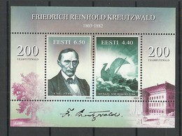 Estland Estonia 2003 Block Mi 20 Writer F. R. Kreutzwald Michel 476 - 477 MNH - Estonie