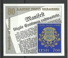 Estland Estonia 1998 Block Mi 11 Anniversary Of Republic Of Estonia Michel 317 MNH - Estonie