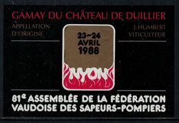 Rare // Etiquette De Vin // Pompiers  // Gamay De Duillier, Assemblée De La Fédération Vaudoise Des Sapeurs Pompiers - Pompiers