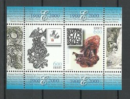 ESTLAND Estonia 2000 Block Mi 14 Exlibris Michel 386 - 387 MNH - Estonie