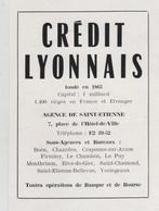 Publicité 1954 Crédit Lyonnais Saint Etienne Boen Chazelles ... - Werbung