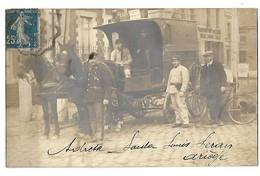 59 CARTE PHOTO DOUANES DOUANIERS QUIEVRECHAIN BLANC MISSERON VISITE D'UN ATTELAGE 1923 CPA 2 SCANS - Douane