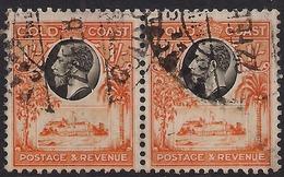 Gold Coast 1928 KGV 1/-d Pair Black & Red Orange SG 110 ( K1139 ) - Côte D'Or (...-1957)