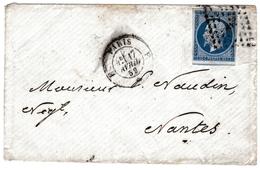 Lettre Paris 1859 Nantes Loire Atlantique Napoléon III 20 Centimes Cachet Paris à Nantes - 1853-1860 Napoleon III