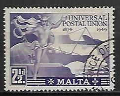 MALTE    -   1949 .   Y&T N° 218 Oblitéré.   U.P.U. - Malte (...-1964)
